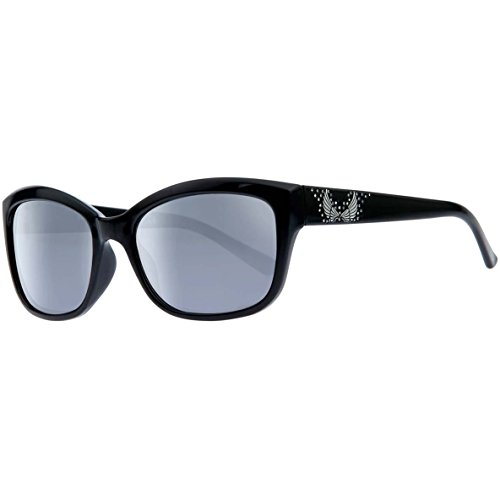 n's Crystal Cat Eye Sunglasses, Black Frames & Smoke Lenses (Harley Davidson Prescription Sunglasses)