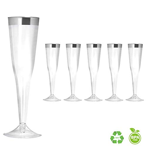Clear Plastic Disposable Party Cups 6 Ounce Champagne Flutes (50 Pack) Fancy 6oz Disposable Stemware with Silver Rim Perfect for Holiday Party Wedding and Special Occasions, Silver