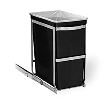 simplehuman 30 Liter / 8 Gallon Under Counter Kitchen Pull-Out Trash Can,  Heavy-Duty Steel Frame