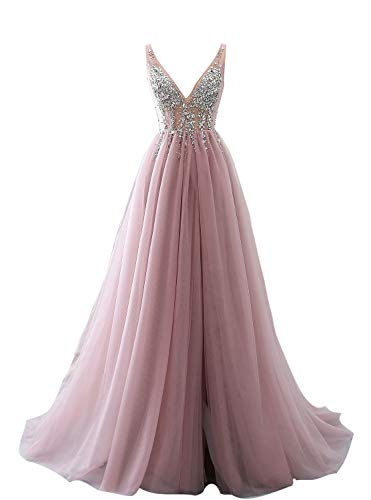 Special Occasion Dress Hot Sexy V-Neck Beaded Open Back Tulle Split Long Evening Prom Dresses -