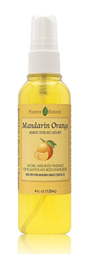 Positive Essence Mandarin Orange Room and Linen Spray, Natural Aromatic Mist Made with Pure Mandarin Essential Oil, Relax Your Body & Mind, Perfect as a Bathroom Air Freshener Odor Eliminator
