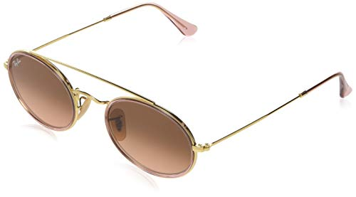 Ray-Ban RB3847N Oval Double Bridge Sunglasses, Gold/Pink Brown Gradient, 52 mm (Rote Ray-ban Sonnenbrillen)