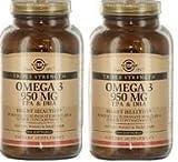omega 3 solgar - Solgar Omega 3 950 100 softgels - 2 Bottles