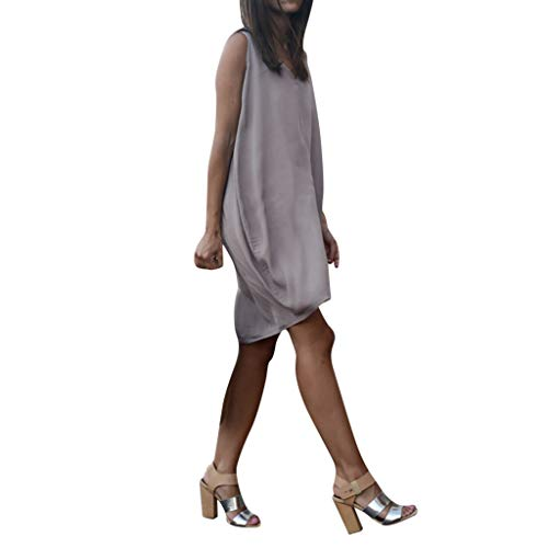 Women Sleeveless Tunic Mini Dress Solid {Cotton Linen} V-Neck Tank Beach Sundress Casual High Low Loose Dresses (S, Gray) ()