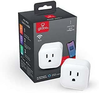 Globe Electric Collection Wi-Fi Smart Plug, No Hub Required, Voice Activated, 1 Grounded Outlet, White (1-Pack, 15A) 50114