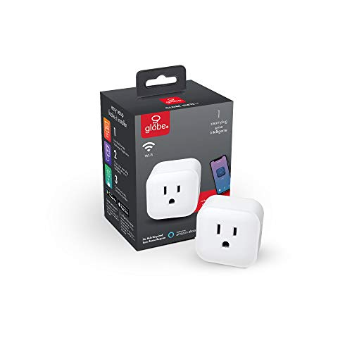 Globe Electric Collection Wi-Fi Smart Plug, No Hub Required, 1 Grounded Outlet, White (1-Pack, 15A) 50114