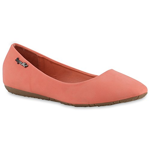Bequeme Damen Ballerinas Flats Gesteppt Schleifen Stoffschuhe Slipper Lack Glitzer Leder-Optik Ballerina Schuhe Flandell Rot Bernice