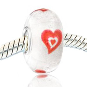 Glow in The Dark Red Heart Murano Glass Beads with 925 Sterling Silver Core Charm Bead Fits European Bracelet