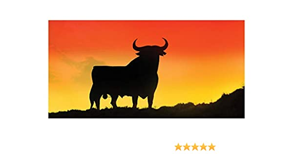 70 x 140 cm 70 x 140 cm Toalla de ba/ño 100/% algod/ón dise/ño de Toro espa/ñol LimeWorks Naranja