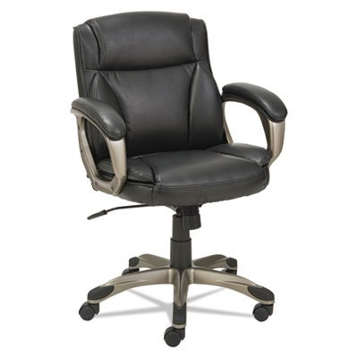 Alera ALEVN6119 Veon Series Low-Back Leather Task Chair w/Coil Spring Cushioning, Black
