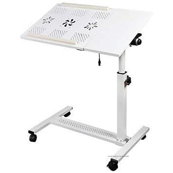 Yerden Yükseklik Ve Eğim Ayarlı Mouse Bölmeli Laptop Sehpası Beyaz