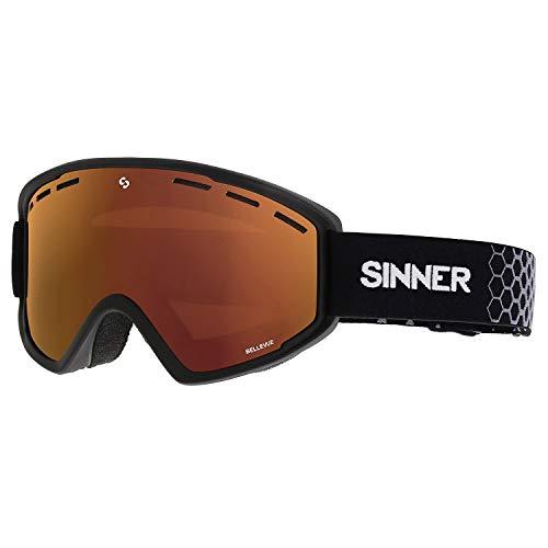 SINNER Bellevue Snow Goggles One Size Matte Black ~ Double Orange (Sinner Goggles)