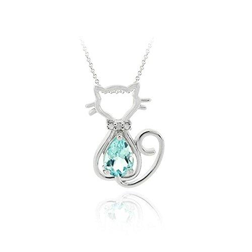 Glitzs Jewels Sterling Silver Blue Topaz & Simulated Diamond Accent Cat Pendant