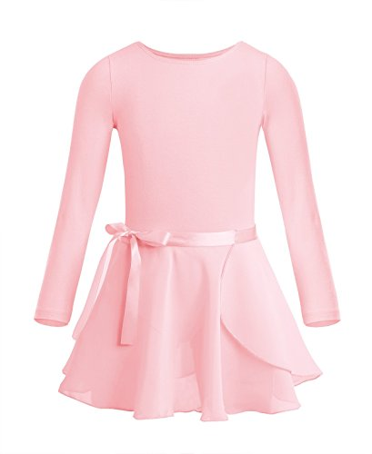 Freebily Girls Team Basic Long Sleeve Leotard with Pro Tight Skirt Dance Ballet Tutu Dress Outfit Pearl Pink 3-4