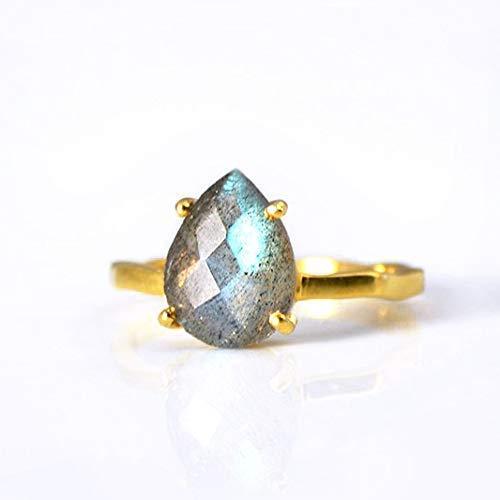 Labradorite Prong Set Ring, Vermeil Gold or Sterling Silver, Teardrop ring