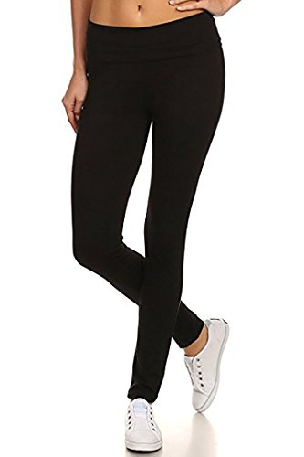 Fold Over Yoga Pants Black - MOPAS Yoga Leggings with Fold Over Solid Waistband, Large, Black