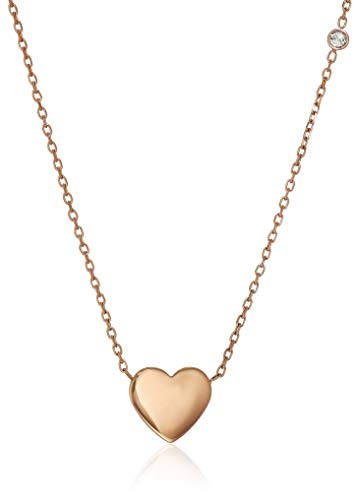 Fossil Rose Pendant (Fossil Women's Heart Rose Gold-Tone Stainless Steel Necklace)