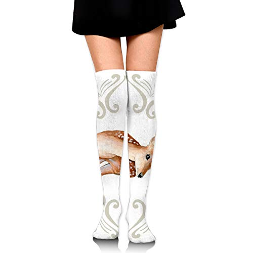 (Sweet Friends Deer with Tan Scrolls Women's Over Knee Thigh Socks Girl High Stockings 65 Cm/25.6In)
