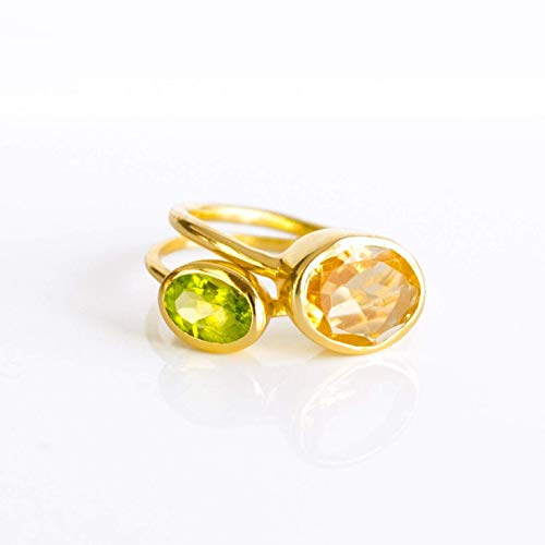 - Mom Ring Set Combo, Custom Birthstone Ring Set, Mother Daughter Ring Set, Stacking ring set, Christmas Gift for Mom, Citrine Peridot Ring, Large & Small Oval Ring Combo
