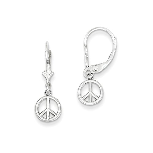 14k White Gold Peace Sign Leverback Earrings Lever Back Drop Dangle Inspiration Fine Jewelry For Women Gift Set