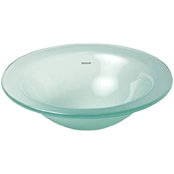 Ordinaire DECOLAV 1000TU FNG Terra Translucence Round 12mm Tempered Glass Undermount  Bathroom Sink, Frosted Natural