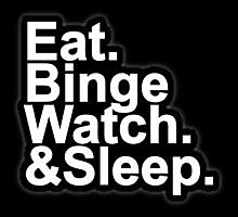 Eat Binge Whatch Sleep Funny Decal Vinyl Sticker|Cars Trucks Vans Walls Laptop| White |5.5 x 5 in|LLI047