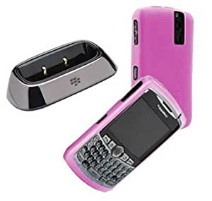 Viesrod Charging Pod and Magenta Silicone Skin Cover Case for Blackberry Curve 8300 8330 8320 8310