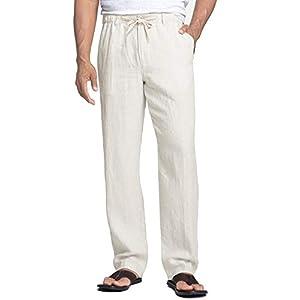 Coofandy Pantalon Coton Pantalon pour Homme Cordon Serrage été décontracté Couleur Unie pour Homme Vrac