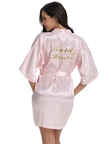 Vlazom Bridal Bridesmaid Robes Silk Bride Party Robes Dressing Gwon, Wedding Day Robes, Glitter Bridesmaid Kimono Bathrobe-Maid of Honor]()