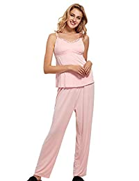 MOMANDA Women's Maternity Nursing Cami Pajamas Set Sleepwear