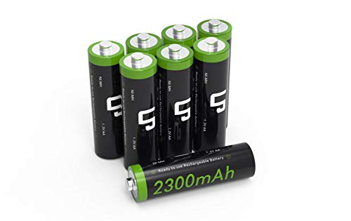 LP AA Ni-MH Rechargeable Battery Pack, 8-Pack Double A Batteries with 2300mAh High Capacity for Clocks, Remotes, Games Controllers, Toys, Digital Cameras, Flashlights, E-Toothbrushes, Shavers &More ()