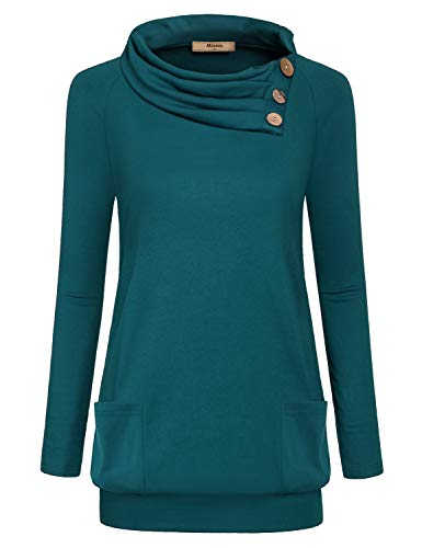 Miusey Tunic Sweatshirts for Women, Long Sleeve Cowl Neck Solid Color High Collared Embellished Button Pullover Boutique Slim Fit Flare Hem Petite Fashion 2018 Clothing Blue M (Tunic Embellished Sweater)