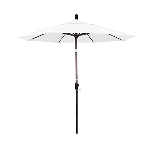California Umbrella 7.5 Round Aluminum Market Umbrella, Crank Lift, Push Button Tilt, Bronze Pole, Olefin White