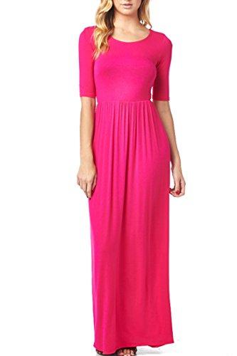 82D-8211RS-FCH Women'S Rayon Span Jersey Maxi Long Dress with Elastic Waistband - Fuchsia S