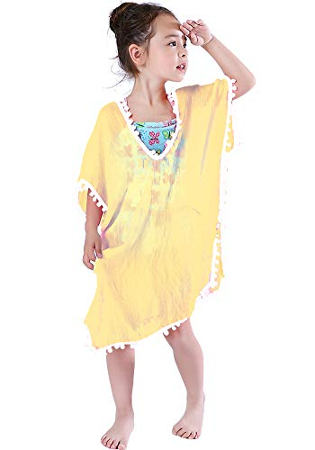 MissShorthair Fashion Girls' Cover-ups Swimsuit Wraps Beach Dress Top with Pompom Tassel]()