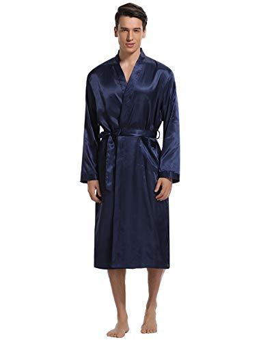 Aibrou Men's Satin Robe Long Bathrobe Lightweight Sleepwear (Navy, Large)