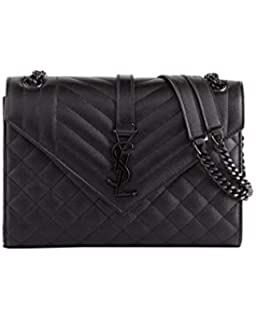 afeb94e50a2 Saint Laurent V Flap Monogram YSL Medium Tri-Quilt Envelope Shoulder Bag  w/Tonal