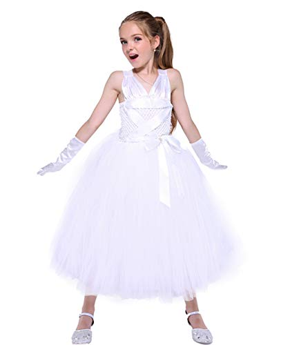 Tutu Dreams Baby Girls Marilyn Monroe Costumes with Gloves Birthday Party Photo Props (Small) White
