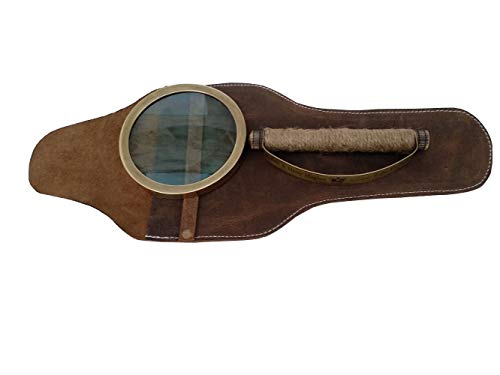 Hughes Antique - US HANDICRAFTS Brass Magnifier Vintage Replica Magnifying Glass in Leather Case - Henry Hughes London..........