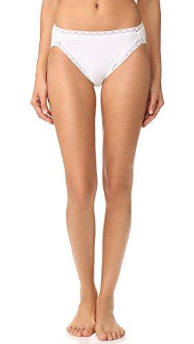 Natori Lace Jersey (Natori Women's Bliss Cotton French Cut Bikini Briefs, White, Small)