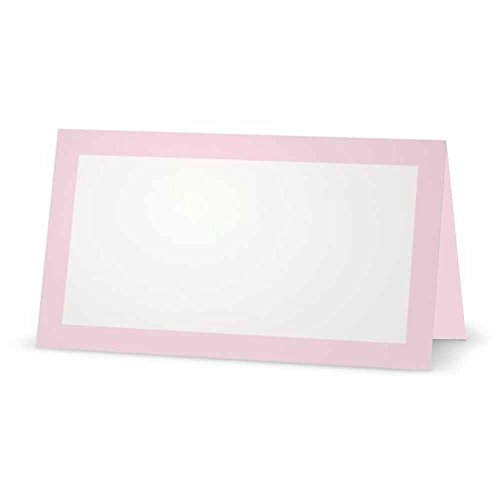 Baby Pink Place Cards - FLAT or TENT Style - 10 or 50 PACK - White Blank Front Solid Color Border Placement Table Name Dinner Seat Stationery Party Supplies Occasion Event Holiday (50, TENT STYLE) (Baby Pink Border)