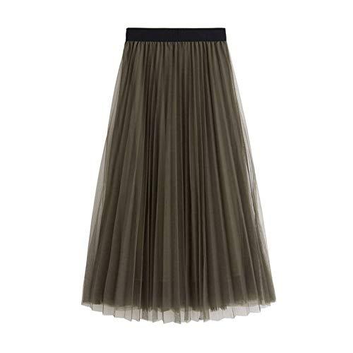 L&Z Women's Long Tulle Skirt Elastic Waist High Waist A-Line Pleated Midi Calf Skirts