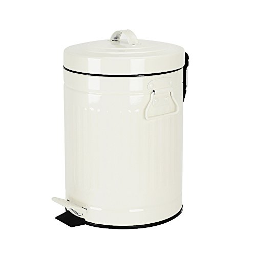 Bathroom Trash Can with Lid, Small White Wastebasket for Home Bedroom, Retro Step Garbage Can with Soft Close, Vintage Office Trash Can, 5 Liter/ 1.3 Gallon, Glossy White (White Pedal Bin)
