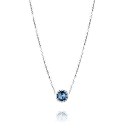 Tacori Bezel Necklace (Tacori SN15333 Island Rains Sterling Silver London Blue Topaz Floating Bezel Necklace, 16