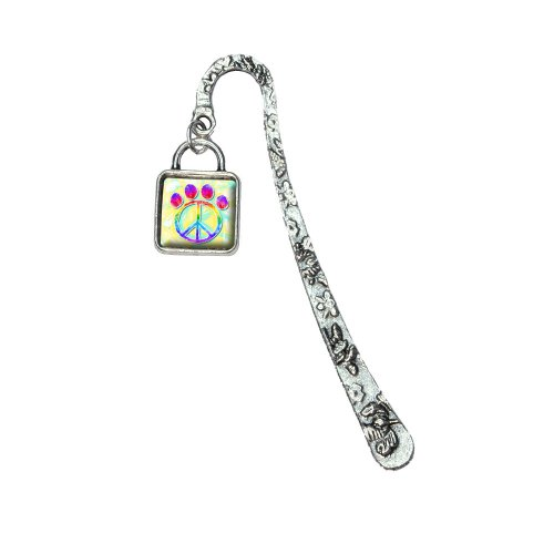Paw Print Peace Sign Book Bookmark with Square Antiqued Charm