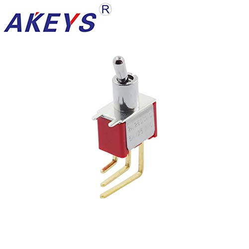 1PCS MTS-102-C4-NO rocker arm button switch rocker lever aircraft modified bent foot 90 degrees 2P3T gold plated