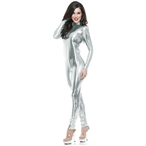 [OvedcRay Adult Metallic Metal Unitard Gold Red Catsuit 2Nd Skin Costume Zentai Jumpsuit] (Captain Caveman Costume)