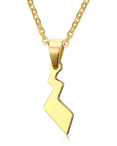 (VNOX Stainless Steel Pokemon Pikachu's Tail Pendant Necklace,Gold Plated,Free Chain)