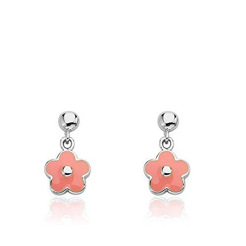 LMTS Frosted Flowers Small Hanging White Enamel Flower Earring/ Brass