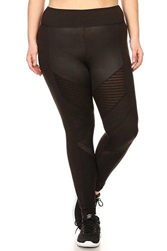 Womens Plus Size Yoga Leggings Pants Solid Sports Bottoms PU Faux Leather Moto Mesh Panels Black ()